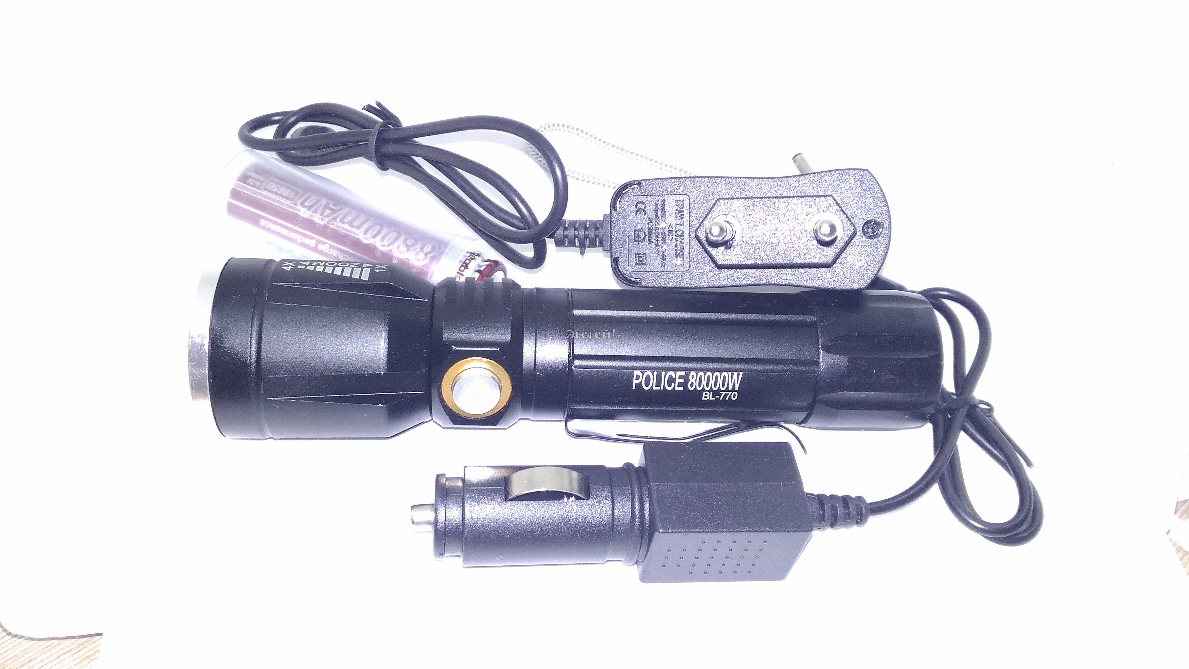 Светодиодный ручной аккумуляторный фонарь BL-770-T6Фонарь ручной BL-770-T6 с аккумулятором, водонепроницаемый, сверхмощный светодиод , с фокусировкой, с зарядкой от сети 220В и от прикуривытеля. Дальность до 2000М!<br> <br> 1) Фонарь выполнен из сплава алюминия и магния, поверхность твердая и прочная, мало деформируется и прошла анодное оксидирование поверхности<br> 2) В фонарике используется LED микрополупроводник, энергопотребеление которого составляет 1/10 от обычной лампы накаливания. Срок службы до 100 тысяч часов<br> 3) Линза и ламповое стекло выполнены из импортного PC материала, обладают высокой прозрачностью и отражательной способностью, прочные и жароустойчивые<br><br> Энергоэкономный, ударостойкий<br> 1 диод CREE T6-WC (срок службы до 100000 часов)<br> 2 режима яркости, стробоскоп, ZOOM<br> Работа от аккумулятора (18650 3,7V)<br> Зарядное устройство от сети 220 В и прикуривателя<br>