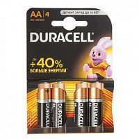 Батарейки DURACELL Basic, AA LR6, Alkaline, 4 шт., в блистере, 1,5 В, MN 1500 АА LR6